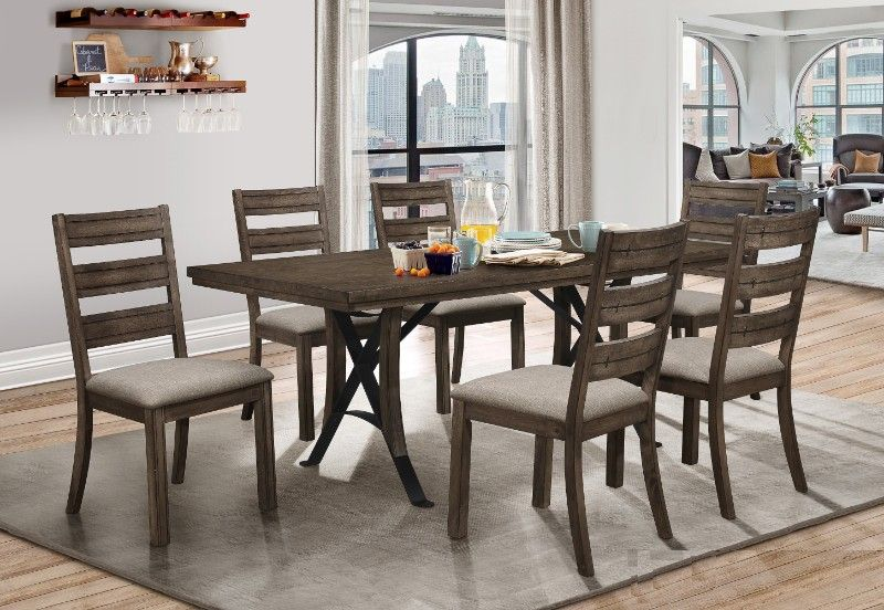 Casa Blanca 7 Pc Portland Weathered Grey Finish Wood Dining Table Set Dining Table Setting Wood Dining Table Dining Table