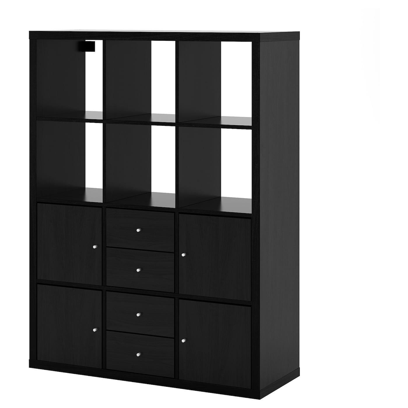 Ikea Kallax Black Brown Shelving Unit With 6 Inserts Kallax