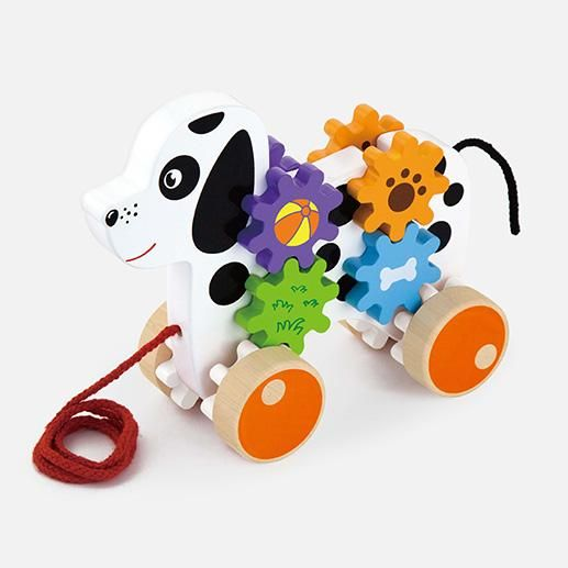 Pull Along Dog With Gears Traditional Toys Spotty Dog Toy Store