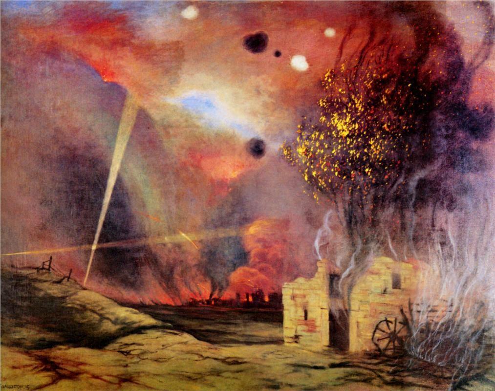 Félix Vallotton - Paysage de ruines et d'incendies (1914)