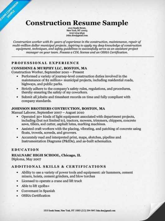construction labor resume sample companion estimator templates - construction labor resume