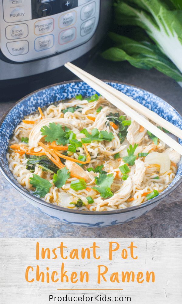 This easy Instant Pot Chicken Ramen is a serious upgrade to those packets of ramen from college. We added a healthy dose of protein with chicken and loaded up on veggies like onions, bok choy and carrot. And there's no need for the sodium-filled packet of seasoning that comes with the noodle, it's easy to flavor this ramen with a few simple ingredients. #produceforkids #instantpotrecipes #ramen