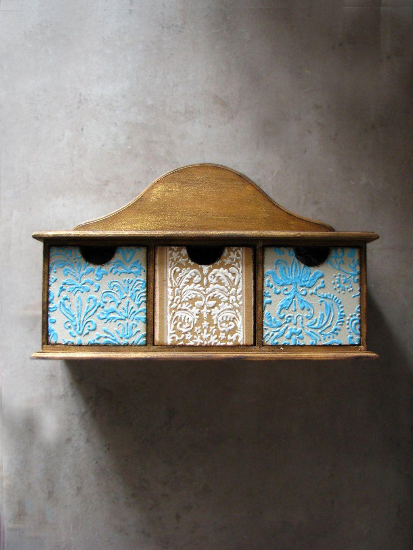 Keepsake drawer jewelry storage organizer shelf mint beige natural distressed wood homewares rustic home (120.00 USD) by Grimme