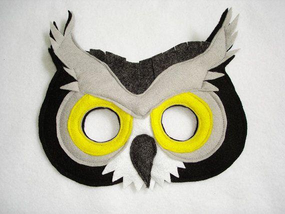 kinder gro e graue eule filz maske zuk nftige projekte masken eule und masken basteln. Black Bedroom Furniture Sets. Home Design Ideas
