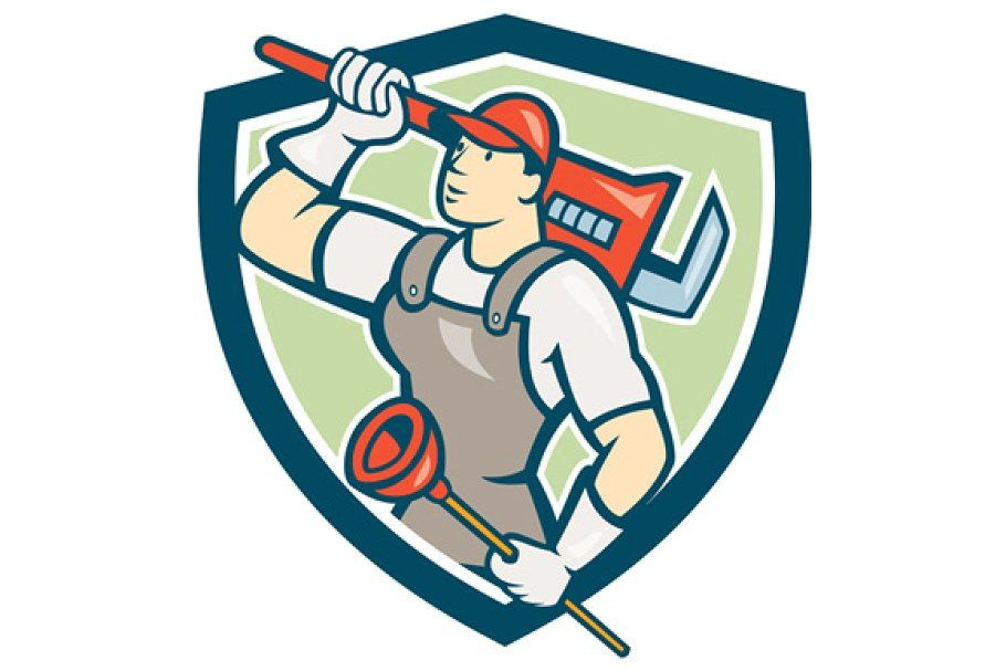 Monkey Wrench Plumber Services Logo Cartoon Styles Service Logo Graphic Illustration