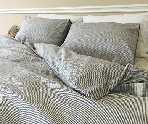 Black And White Striped Duvet Cover Ticking Bedding Custom Linen Queen King Twin