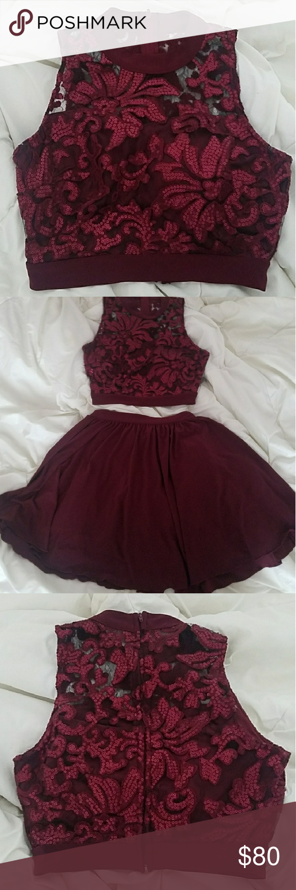 Short maroon piece dress nwt my posh picks pinterest
