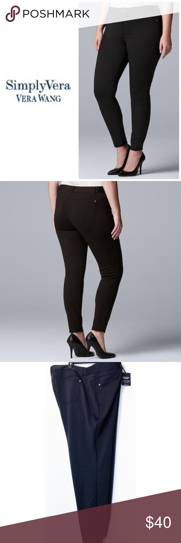 400314d3a26 Simply Vera Wang Black Skinny Pants Plus Sz 3X NWT Plus Size Simply Vera  Vera Wang