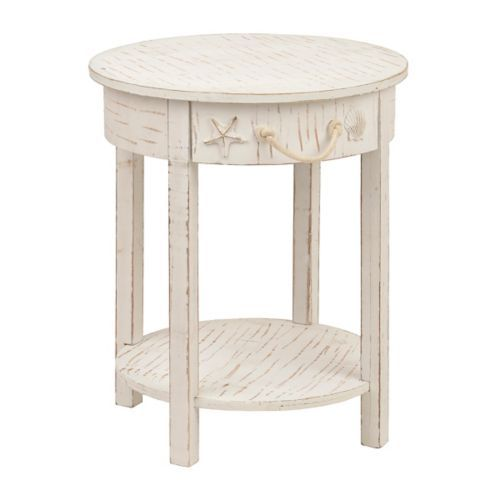 Best Whitewash 1 Drawer Round Coastal Accent Table Table 400 x 300