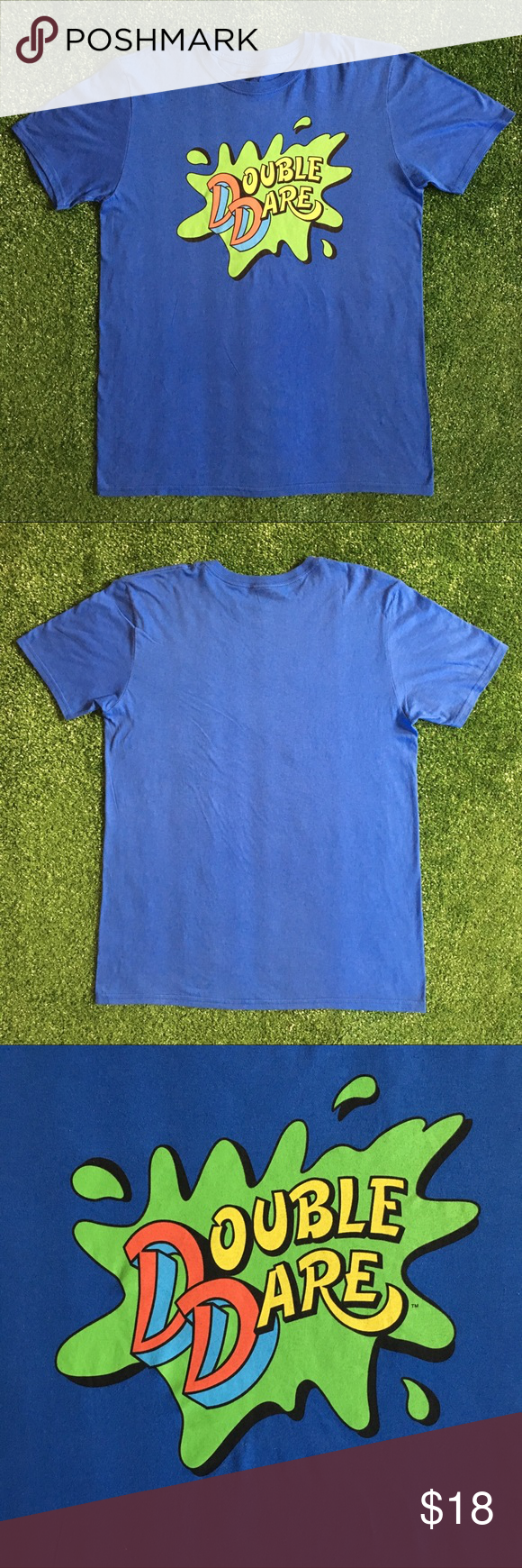 Nickelodeon Double Dare 2000 Tee Double Dare Logo Print On Blue Tee Condition 10 10 From 2018 Nickelodeon Shirts Tees Short Slee 2000 Tees Tees Blue Tee