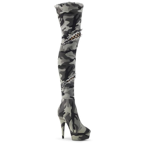 9c0da2f5d87386 Plateau Overknee Stiefel DELIGHT-3005 - Camouflage in 2019