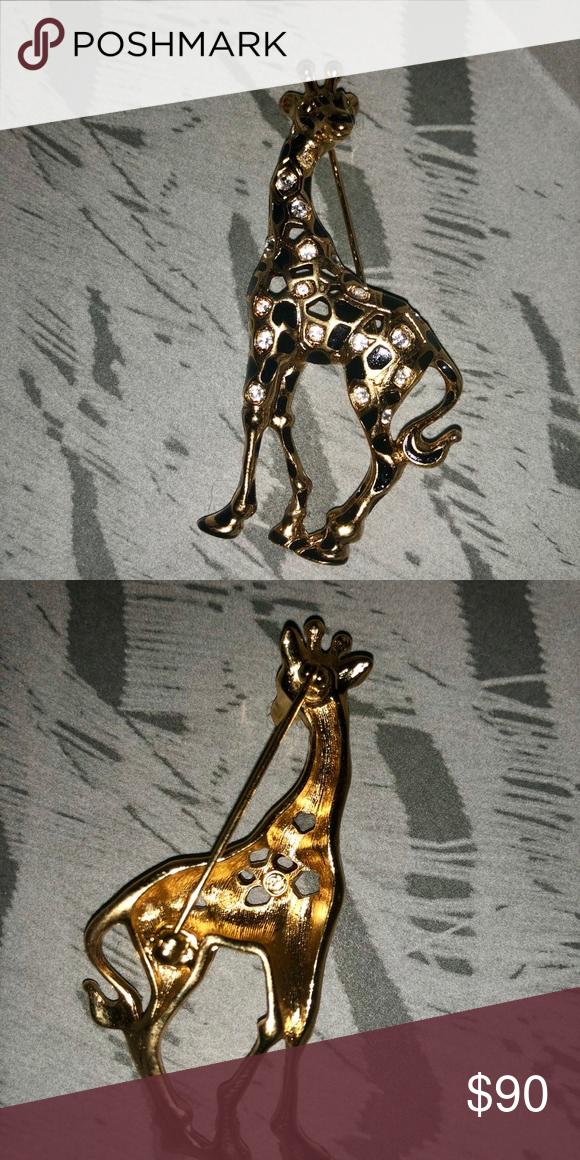 f0d109d74 Vintage Swarovski crystal giraffe pin/brooch Gold Swarovski pin with no  scratches or anything #gold #14k #crystal #swarovski #brooch #pin #cute  #accessory ...