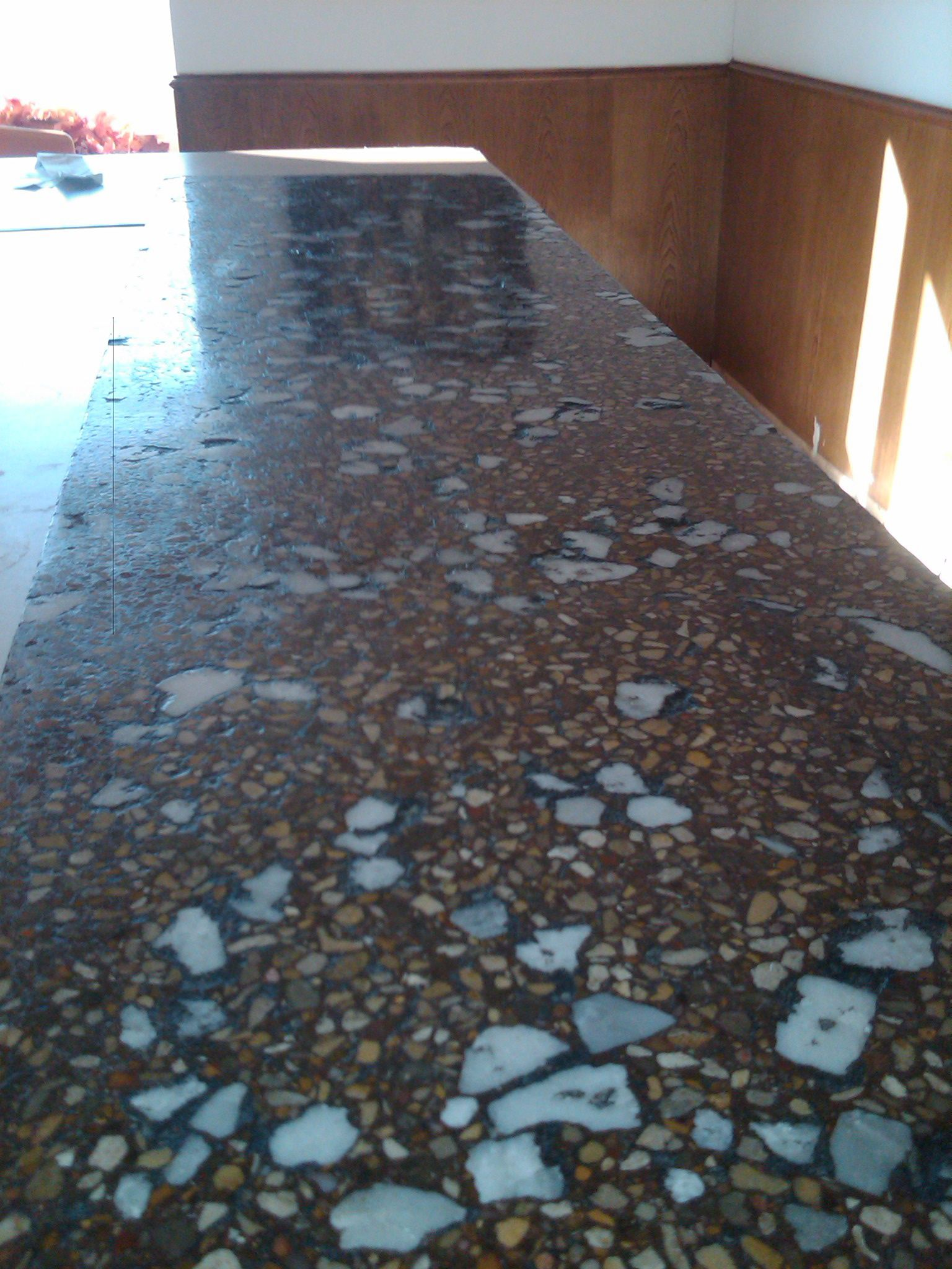Polished Concrete Countertop With Crushed Marble Concrete