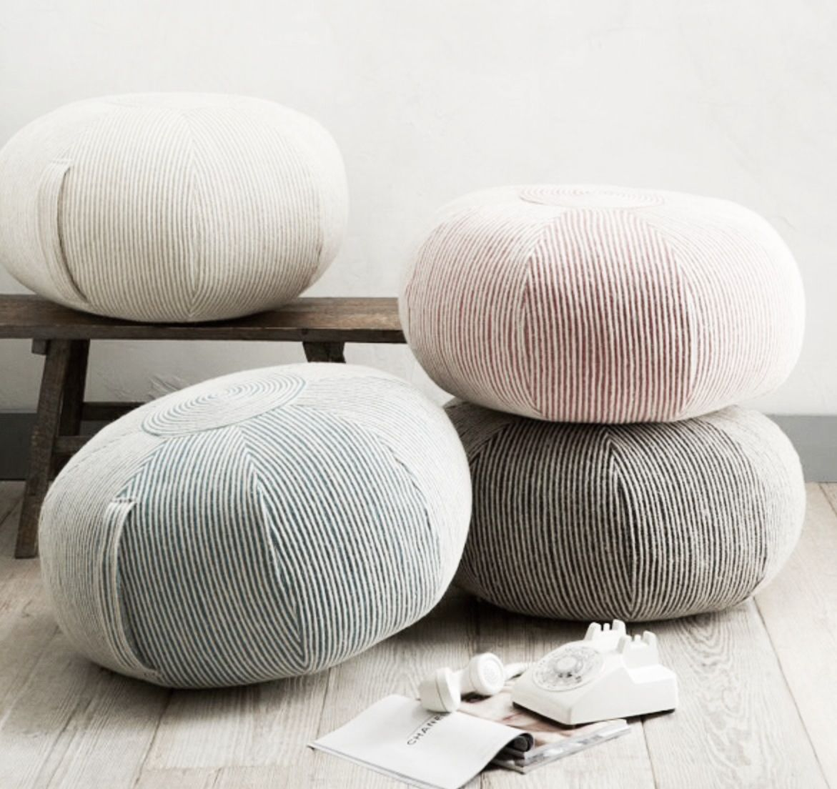 Striped poufs in powdery soft colours   Poufs   Pinterest   Poufs ...