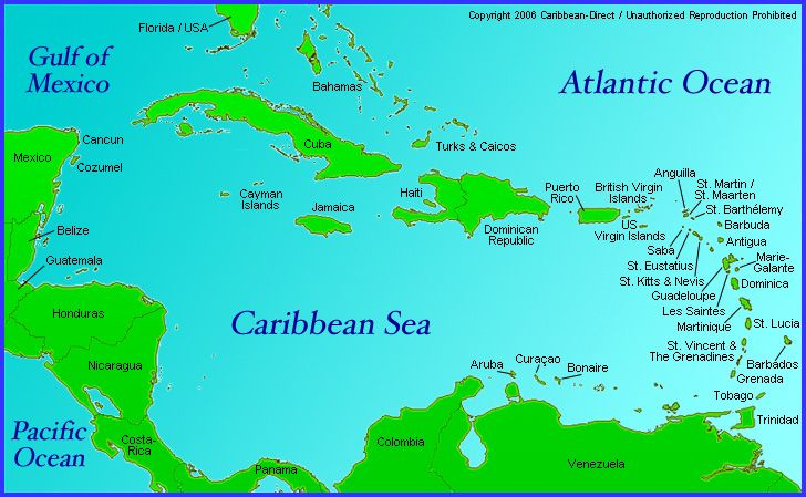 CaribbeanDirect Map Of Caribbean Region With Anguilla Antigua - Caribbean map aruba