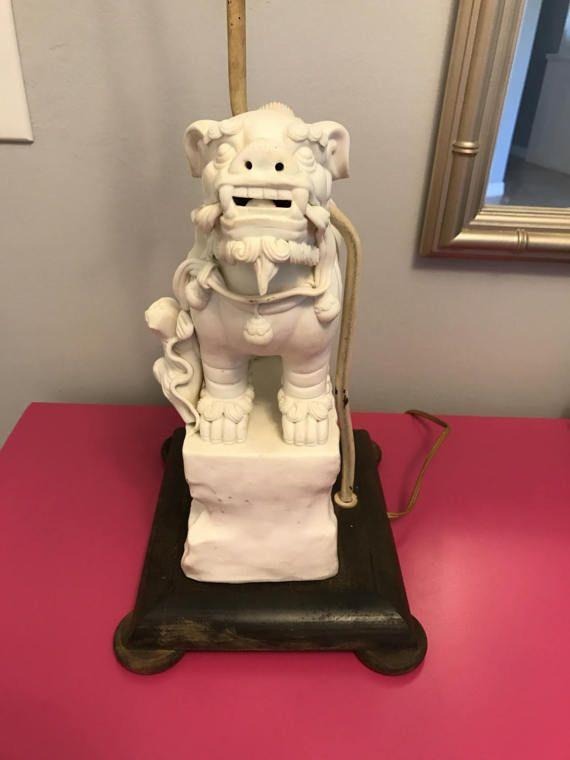Rare Foo Dog Lamp Home Decor Chinoiserie Desk Lamp Bedside