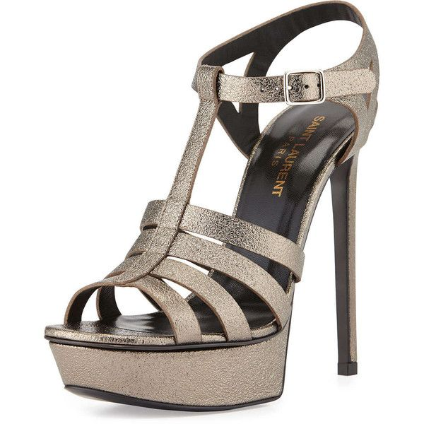 Saint Laurent Bianca Metallic T-Strap Sandal (€455) ❤ liked on Polyvore featuring shoes, sandals, heels, sapatos, shoes and boots, gris, high heel sandals, leather platform sandals, high heel shoes and open toe sandals