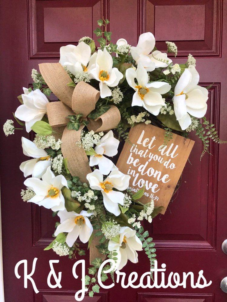 Magnolia Wreath for Front Door, Grapevine Wreath, Summer