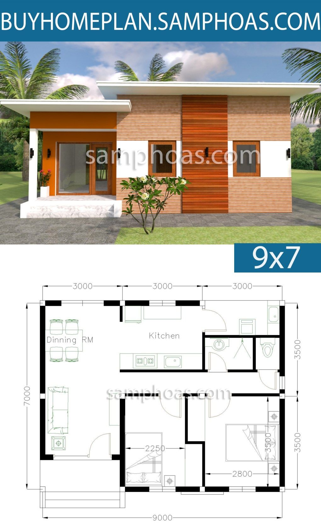 House Plans 9x7m With 2 Bedrooms Sam House Plans Small Modern House Plans House Layout Plans House Plans
