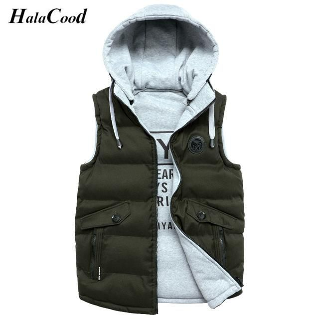 Hot Sale Autumn Fake Two Layer Zipper Hoodies and Sweatshirt Color Contrast Men