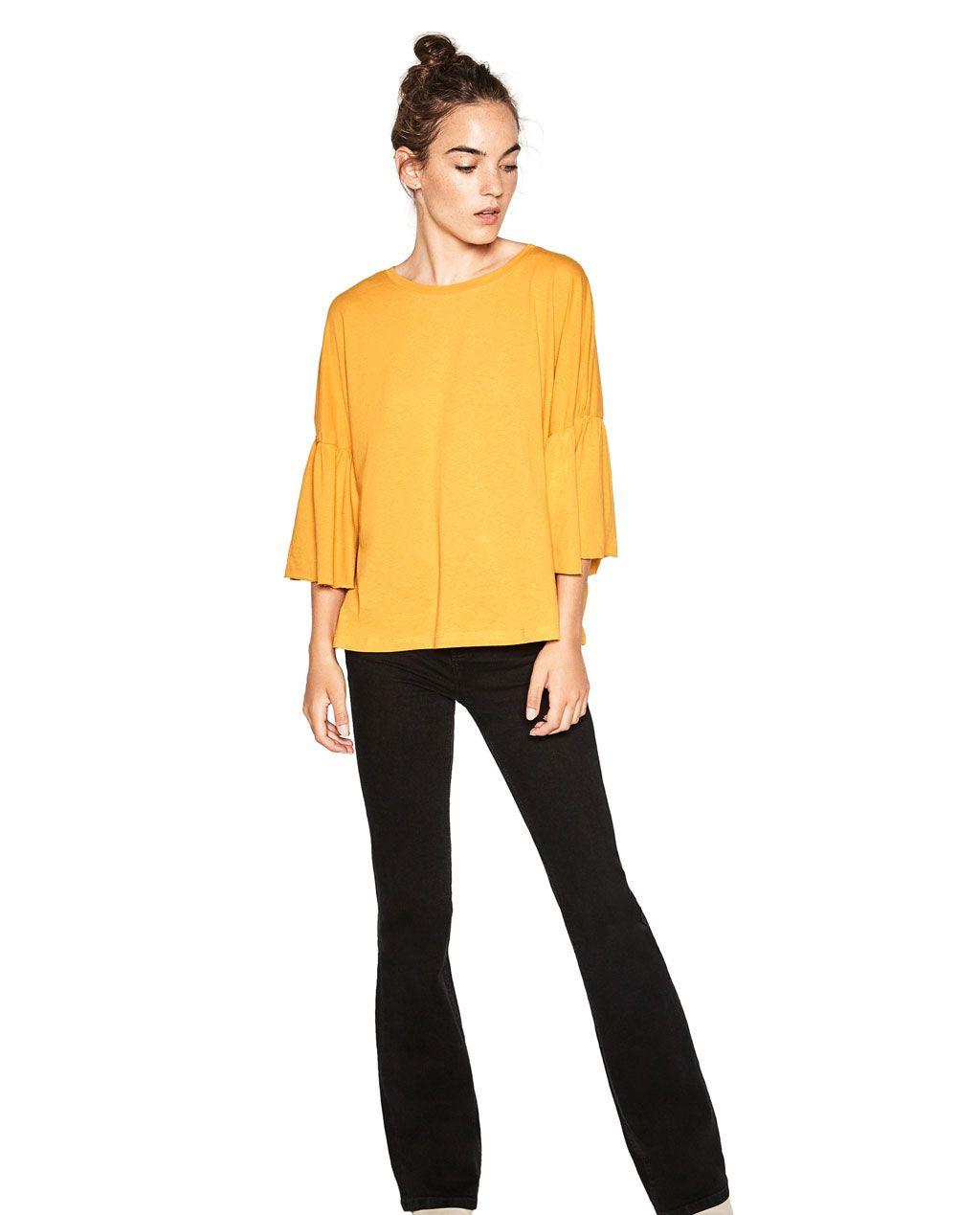 フリル袖付きケープ型Tシャツ-長袖-Tシャツ-レディ-ス | ZARA 日本