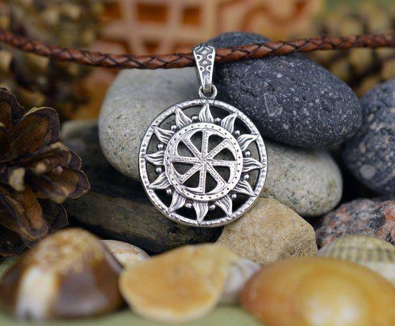 Kolovrat pendant  Handmade Slavic Amulet  Pagan Solar symbol  Slavic