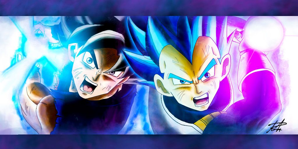 Goku And Vegeta Ultra Instinct And Limit Breaker This Took Me Three Hours To Paint And The Line Drawings 20 Min Vegeta Limit Breaker Goku Goku Ultra Instinct