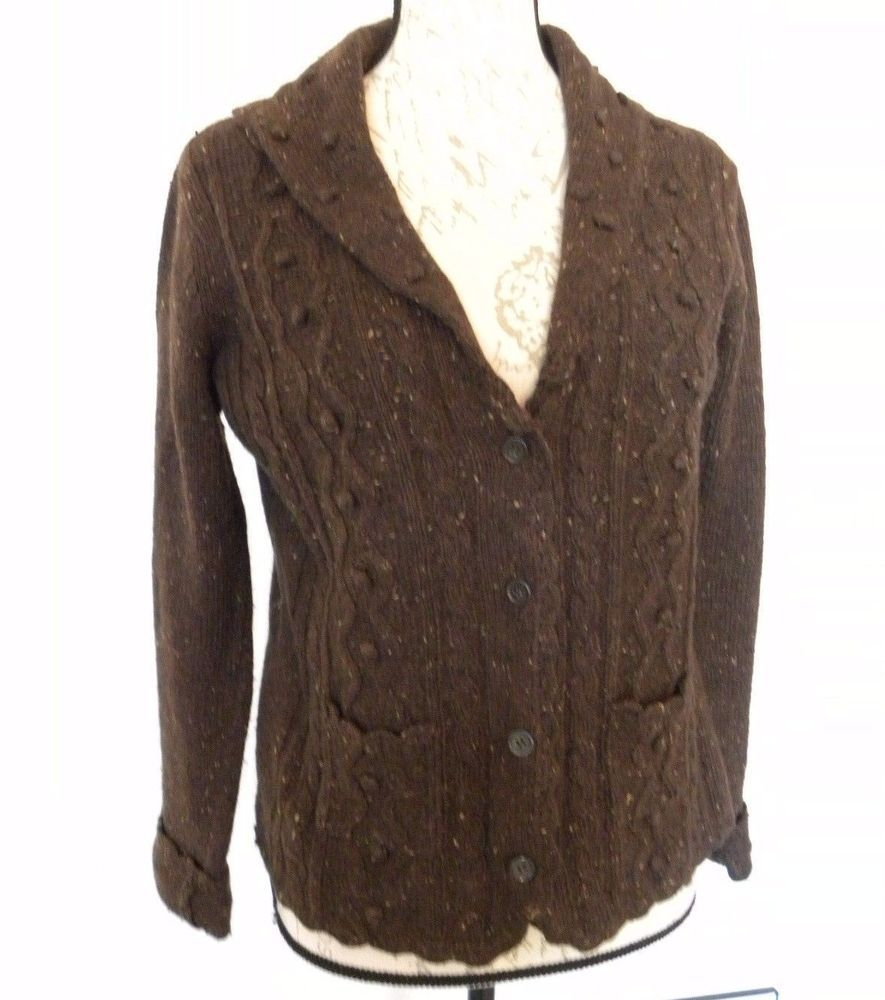 Maurice Sasson Ramie & Wool Sweater Women's Size M Brown Button ...