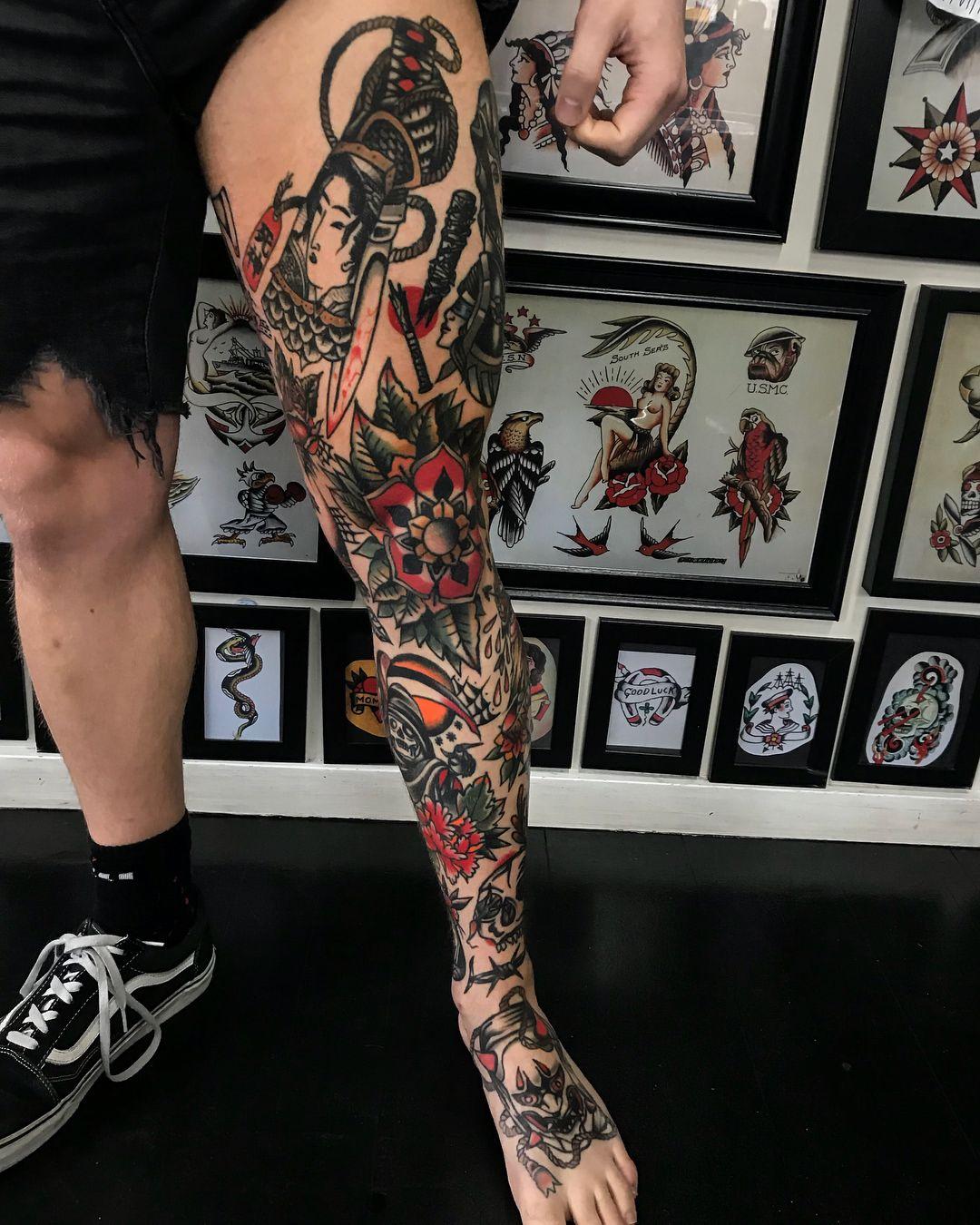 Mikey Sharks Traditional Tattoo Leg Sleeve Traditional Tattoo Sleeve Leg Tattoo Men