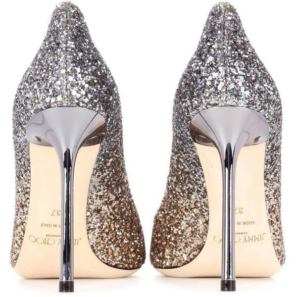 797d40932 Jimmy Choo Romy 100 Glitter Pumps ( 590) ❤ liked on Polyvore featuring shoes