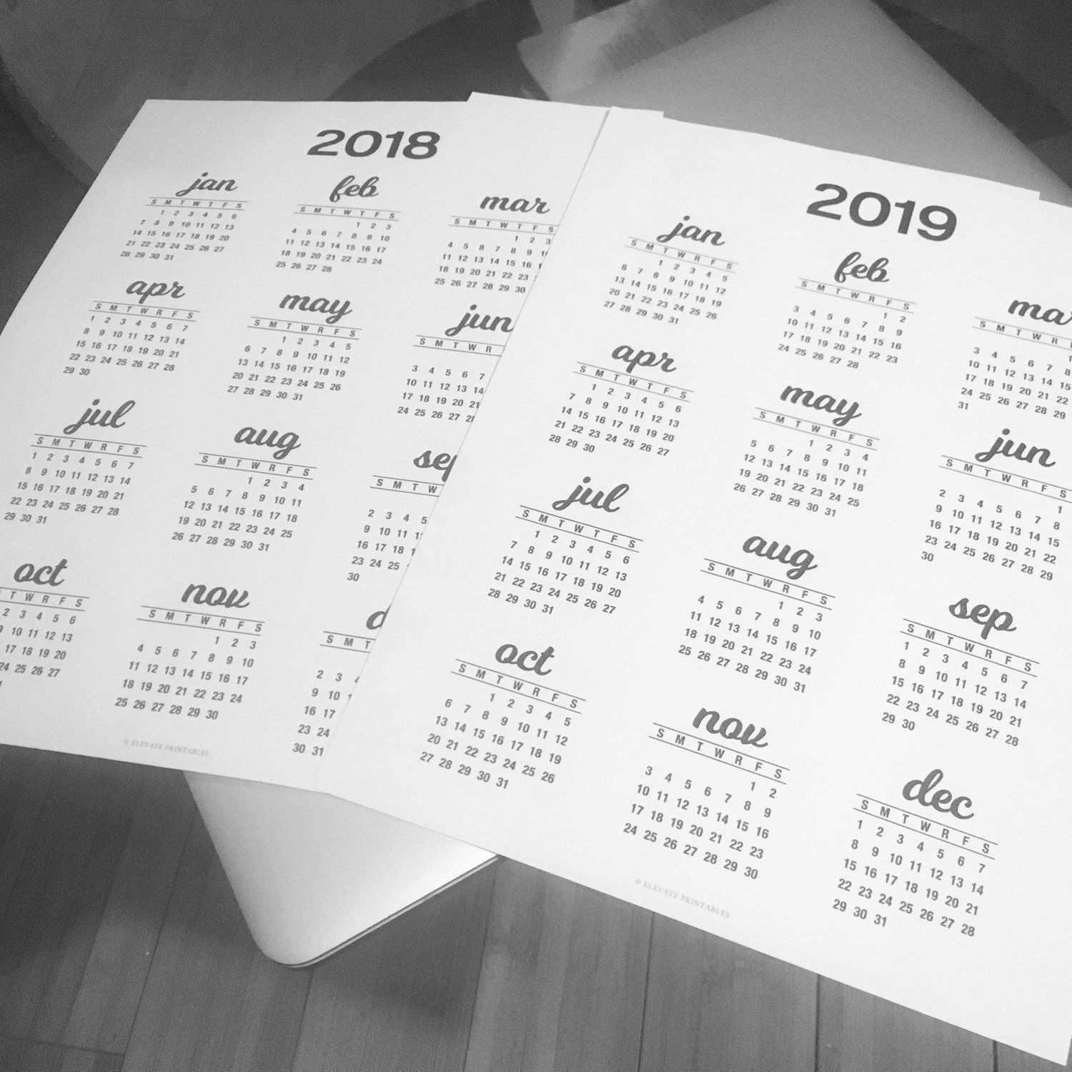 Calendars And Planning Printables By Elevateprintables On