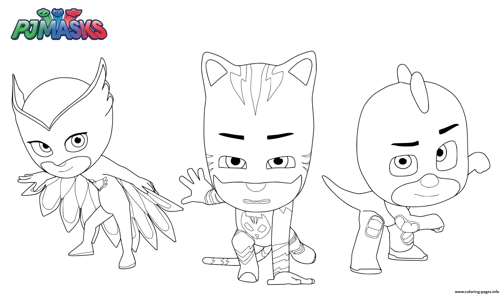 Print PJ Masks Superheroes Coloring Pages