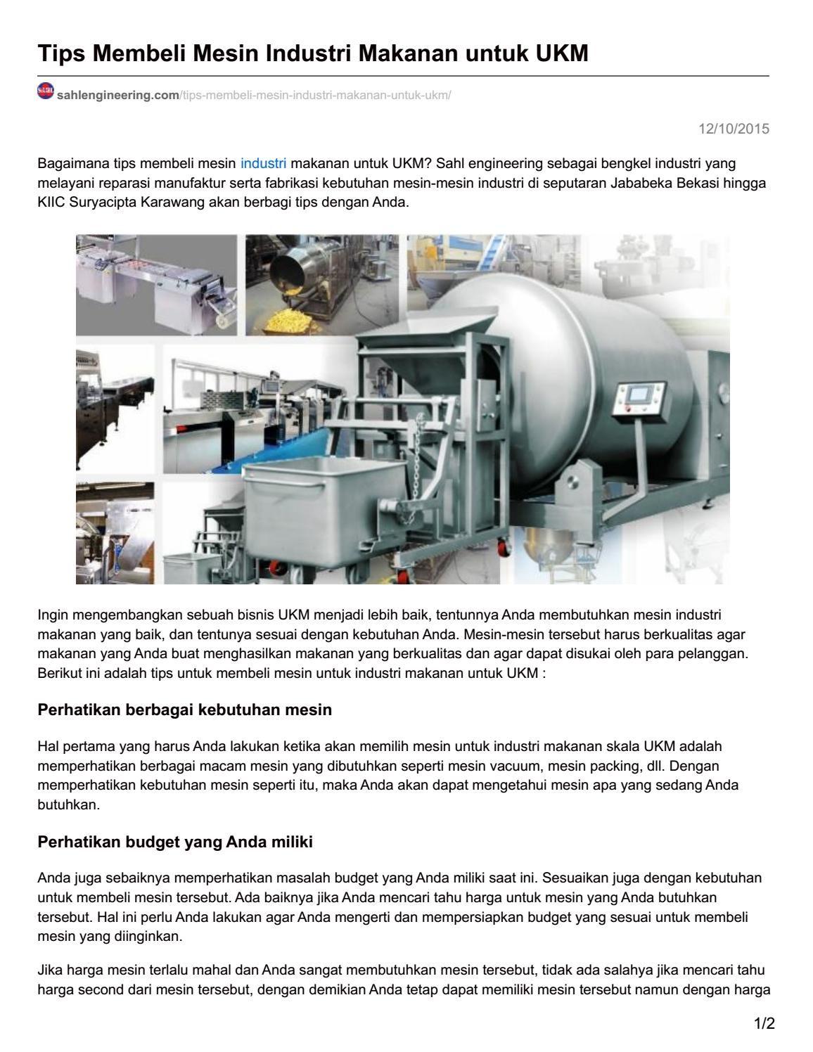 Sahlengineering Com Tips Membeli Mesin Industri Makanan Untuk Ukm Mesin Tips Pelayan