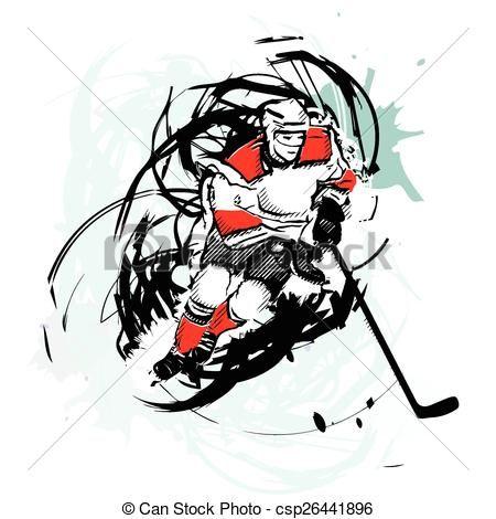 Banque Vectorielle vecteur - joueur, hockey, glace - banque d'illustrations