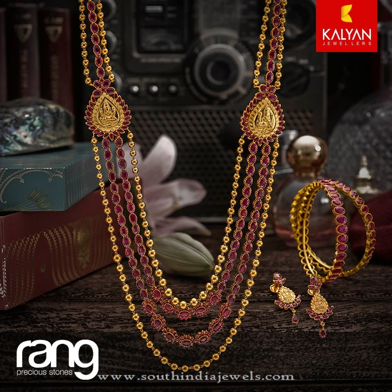 Multilayer Gold Antique Ruby Haram From Kalyan Jewellers South India Jewels Gold Necklace Indian Bridal Jewelry Gold Jewelry Fashion Beautiful Gold Necklaces