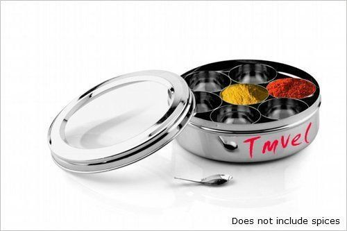 Stainless Steel Masala Dabba Deluxe (Traditional Indian Dry Fruit / Spice Box) Ideal for keeping spices fresh and close at hand for cooking. Made in India by Tmvel. $22.98. Can be used for dry fruits / Spices.. Seven individual spice containers with one spoon.. A Stylish Stainless Steel spice box with a fancy see through lid.. Note: DOES NOT include spices.. Superior Quality Stainless Steel. Tmvel Masala Dabba is a stylish stainless steel spice box with a fancy see t...
