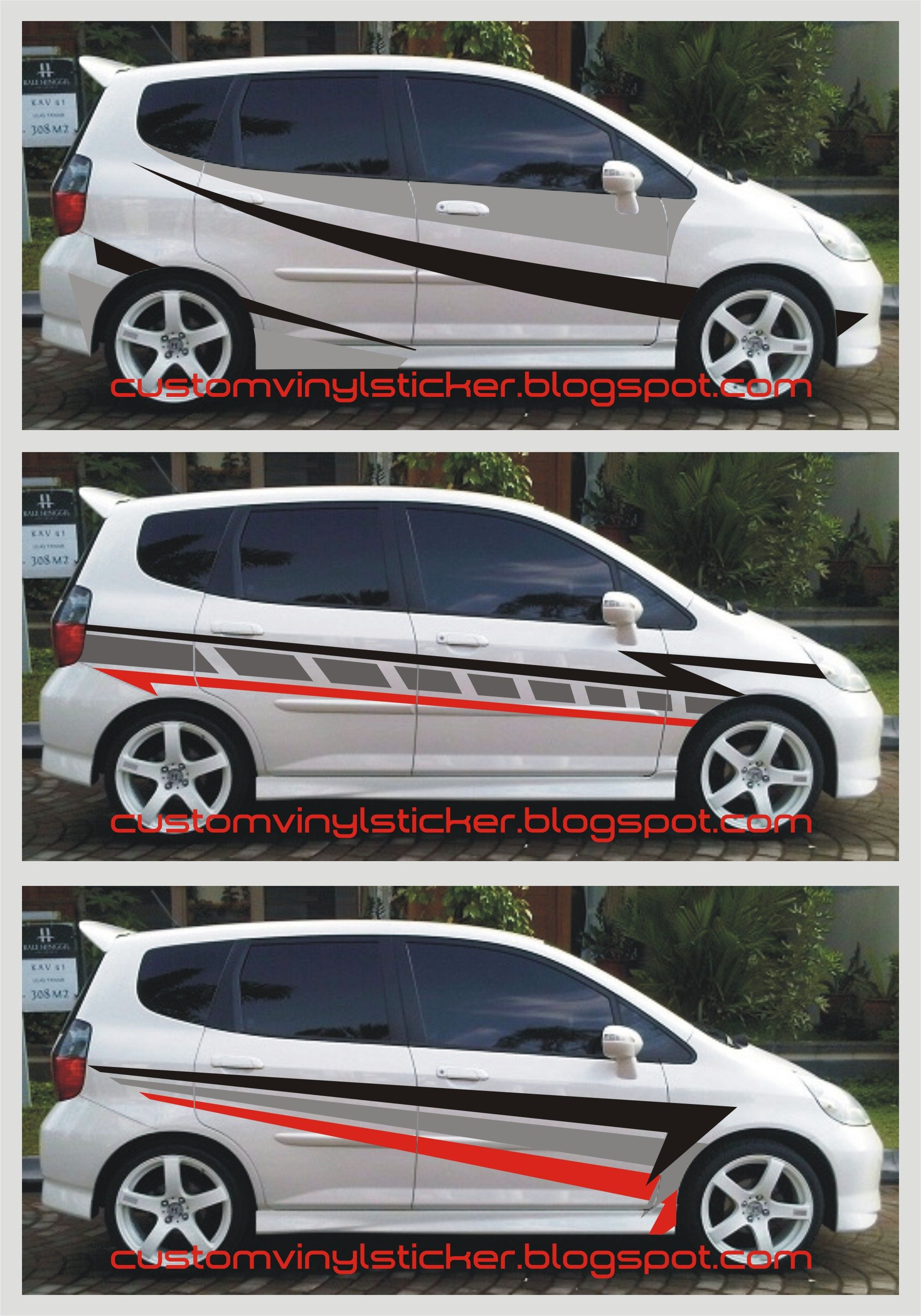 Car cutting sticker design - Honda Jazz Simply Sporty Striping Sticker Concept