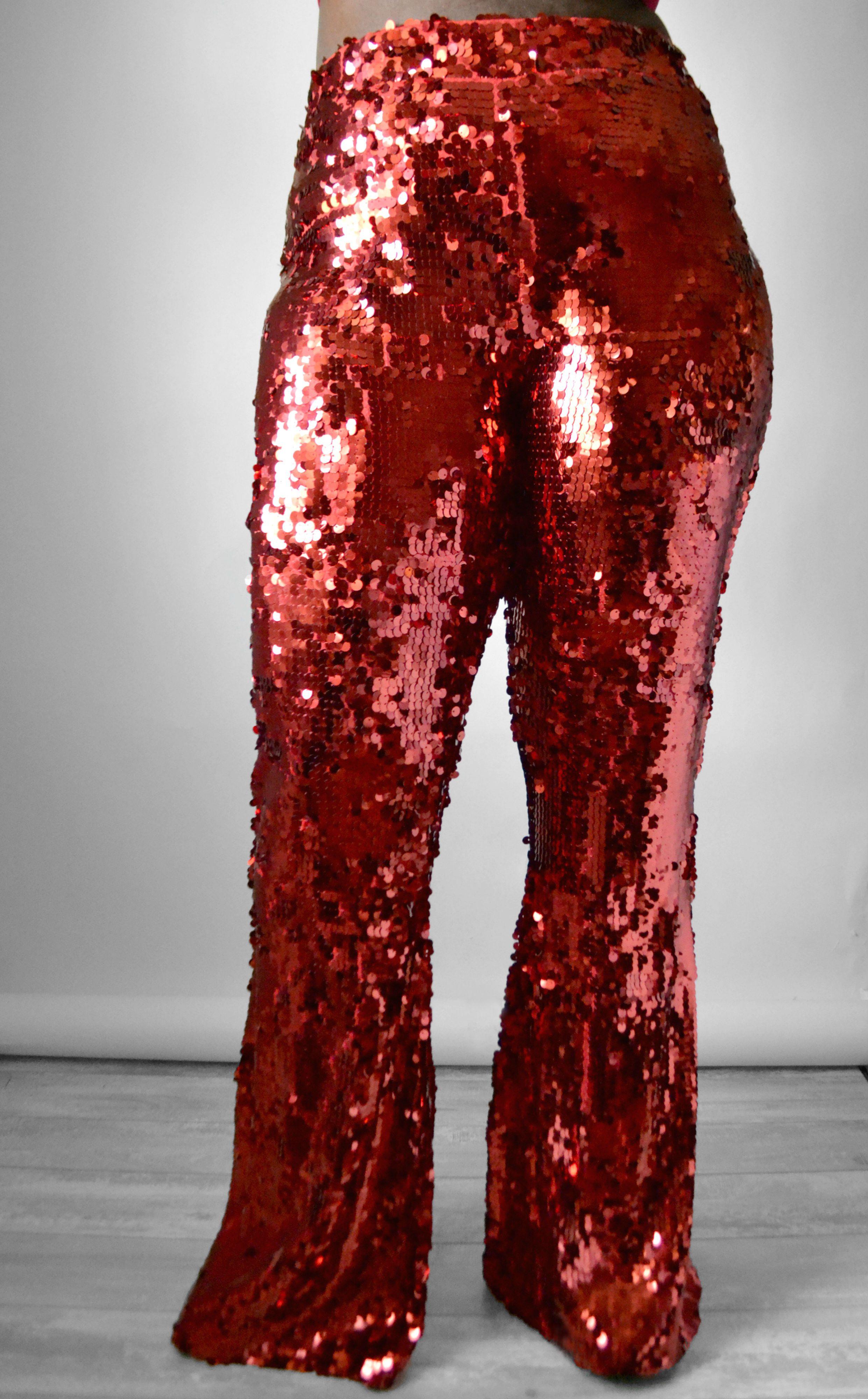 Plus size Red Sequin Flare pants by Daniela Tabois. Shop Now ... 82740e5054a