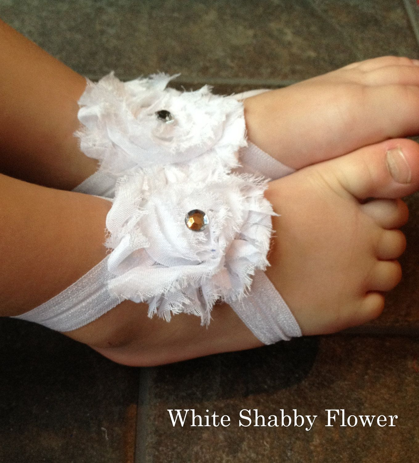 Treasury Item--White Shabby Flower barefoot baby sandals-Baby-photography prop-Baptisms-toe blooms-baby shoes-summer. $11.00, via Etsy.
