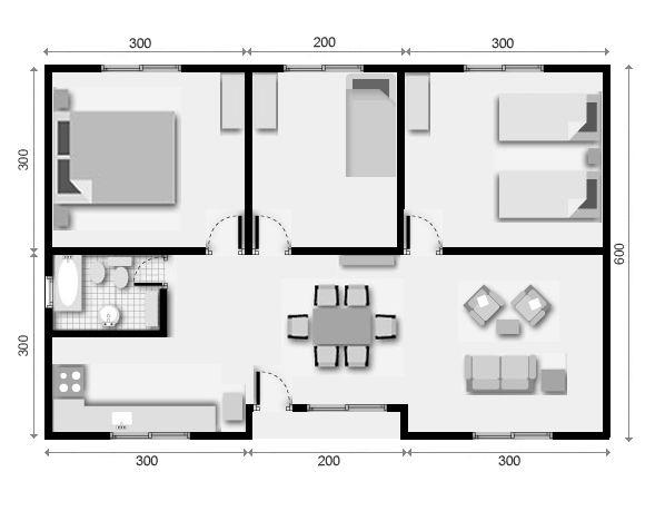 Casa prefabricada de 2 dormitorios cocina y comedor planos for Plano casa minimalista 3 dormitorios