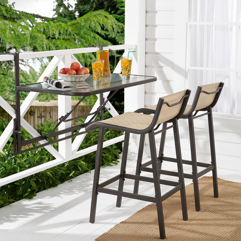 Mainstays Crowley Park 3 Piece Outdoor Bar Set With Fold Down Table Walmart Com Outdoor Bar Sets Fold Down Table Balcony Bar