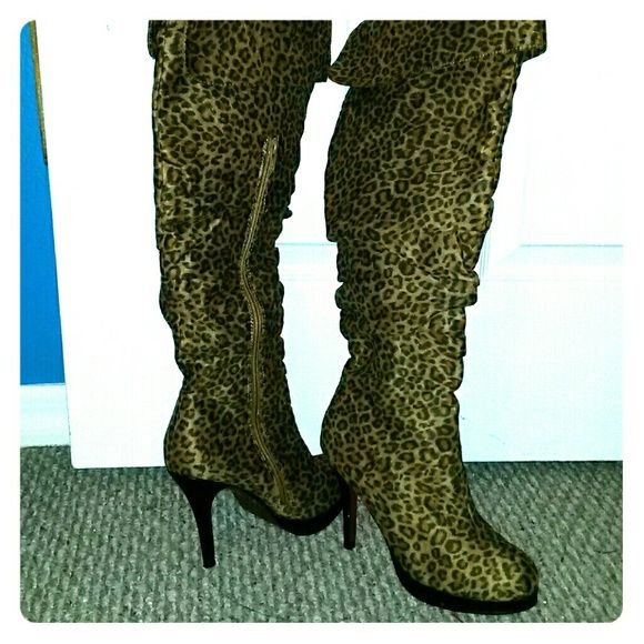 Boots Knee high red bottom leopard boots with 3 inch heel Shoes Over the Knee Boots