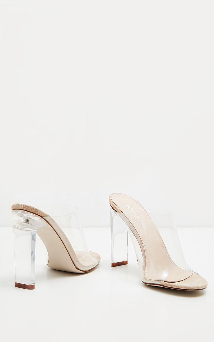 90493322e2 Nude Clear High Flat Heel Mule in 2019 | shoes & socks | Heels ...