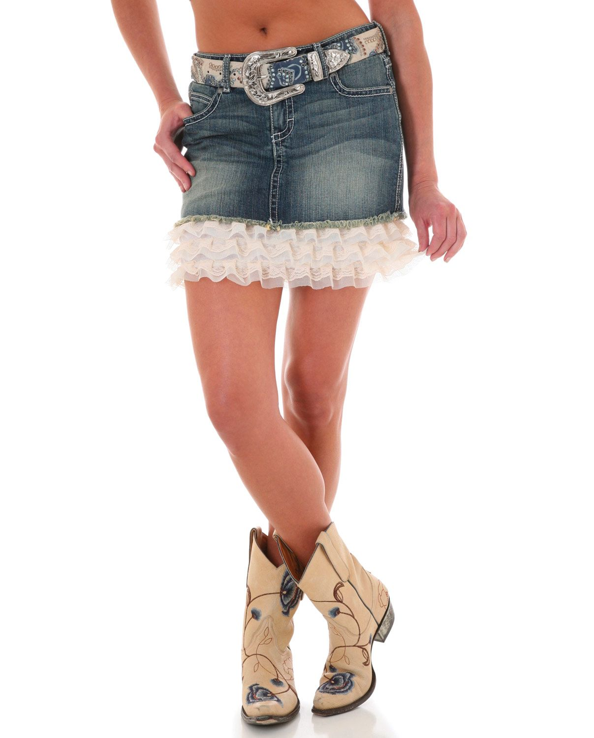 462aa76d4d4 Wrangler® Ladies  Ruffle Denim Skirt    Skirts   Dresses    Ladies    Fort  Western Online