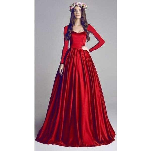 2749f0e26d6 long sleeve red satin dress ❤ liked on Polyvore featuring dresses ...