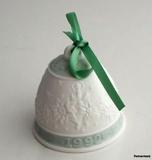 Lladro Christmas Bell Ornament 1992 Candle Poinsettia