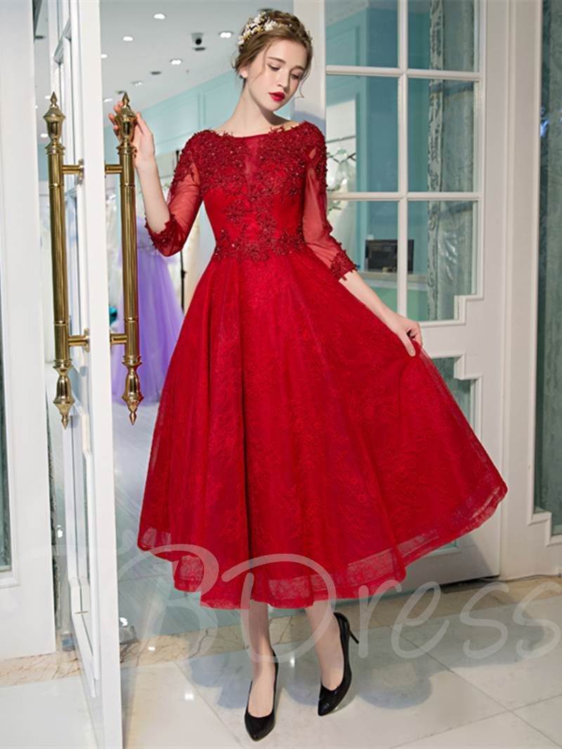 Appliques Beading Tea Length Red Prom Dress With Sleeves Tea Length Prom Dress Vintage Style Prom Dresses Prom Dresses With Sleeves [ 1066 x 800 Pixel ]