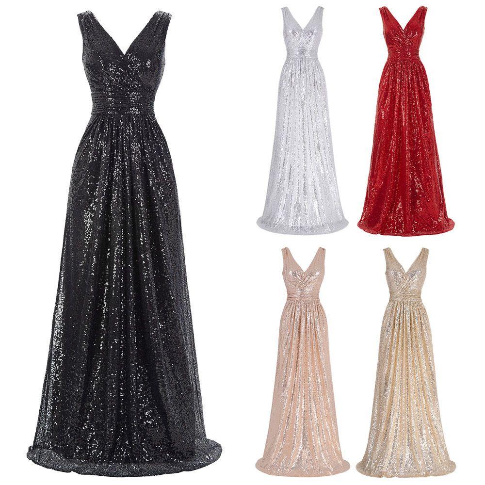Abendkleid Ballkleid Damen Kleid Pailletten Lang Schwarz Gr:34 36 38 40 42 44 46