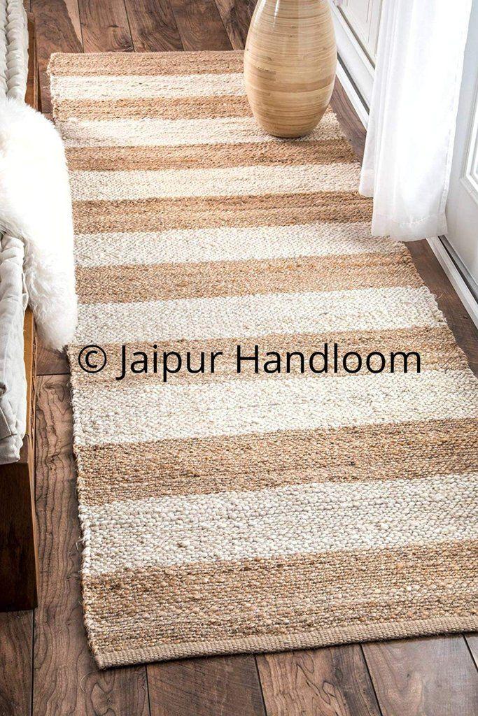 Natural Jute Braided Rugs Indian Hand Woven Floor Mat 2X8