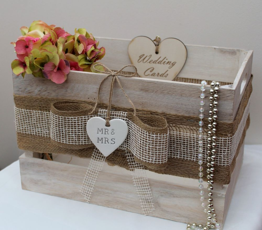 Vintage Country Wooden Wedding Cards Crate Card Post Box Shabby ChicMrMrs